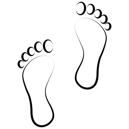 Illustration for black footprint  . Isolated on background . - Royalty Free Image