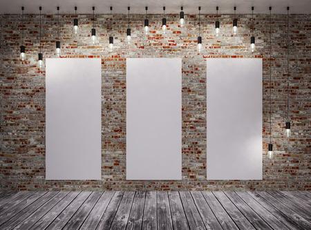 Photo pour Poster in room on brick,  with retro lamps - image libre de droit