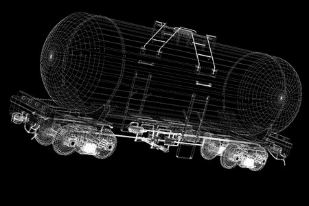 Transportation oil tanks by rail, body structure, wire model