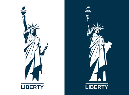 Ilustración de USA Statue of Liberty. Editable vector image. - Imagen libre de derechos
