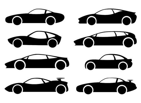 Passenger cars, racing, sports, black. Vector set.