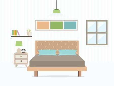 Flat Design Double Bedroom, Bedroom interior,Vector illustration.