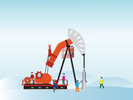 Oil pump with oil worker, Vector illustration.