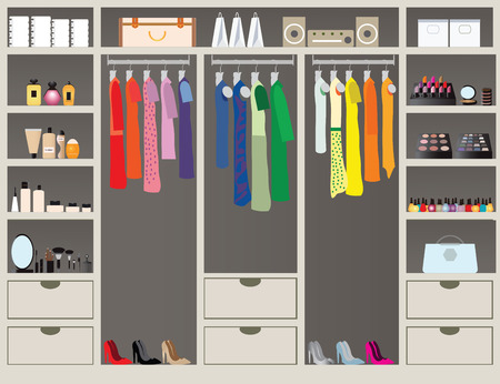 Ilustración de Flat Design walk in closet with shelves for accessories and cosmetic make up, interior design, Clothing store, Boutique indoor of woman's cloths, conceptual Vector illustration. - Imagen libre de derechos