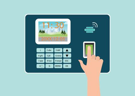 Illustration pour Human Hand touch screen with fingerprint in Time recorder machine, vector illustration. - image libre de droit