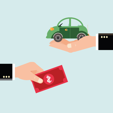 Car and dollar notes sitting on his hand, Investments in real estate, construction, Buying a home for the money, Property insurance, business conceptual vector illustration.