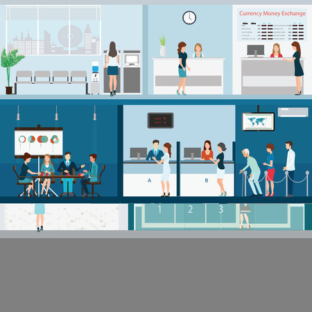 People in a bank interior, Bank building exterior and interior counter desk, cashier, consulting, money currency exchange, financial services, ATM with CCTV security camera, banking vector illustration.