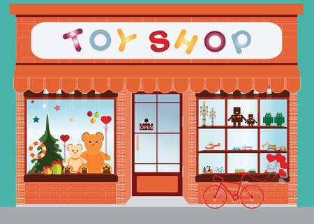 Toy shop window display, exterior building, kids toys vector illustration.