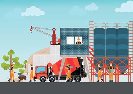 Industrial Cement Processing Plant factory with work machines and a truck mixer illustration.