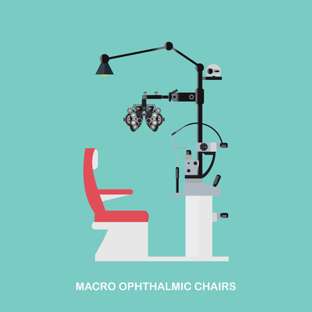 Marco Ophthalmic Chairs, Optometrists eye examination equipment, Eye Exam Chair isolated on white background, vector illustration.