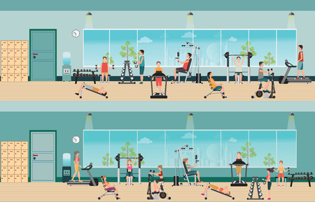 Illustration pour Fitness cardio exercise and equipment with people in fitness gym interior, gymnasium sport fitness, athletics, healthy lifestyle,character Vector illustration. - image libre de droit