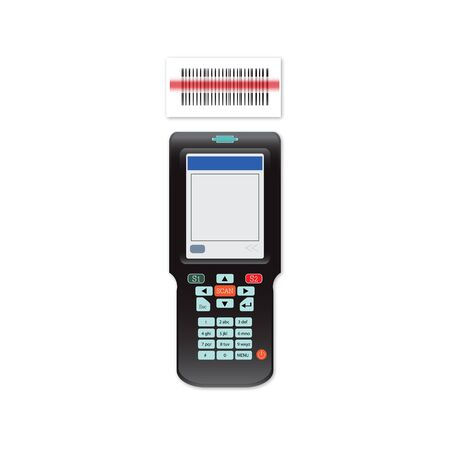 Handheld Mobile Computer in hand or scanner barcode isolated on white background, technology flat design vector illustration.
