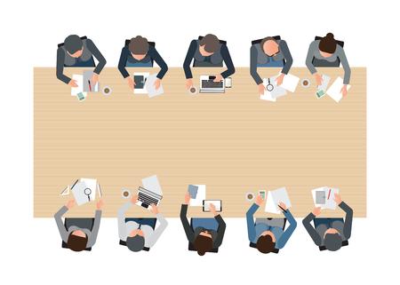 Illustration pour Top view of Business meeting, teamwork, brainstorming, office business people cartoon flat design conceptual illustration. - image libre de droit