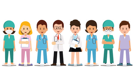 Ilustración de Medical team isolated on white, Set of hospital medical staff, Doctors, nurses and surgeon, Healthcare and medical concept, cartoon character Vector Illustration. - Imagen libre de derechos