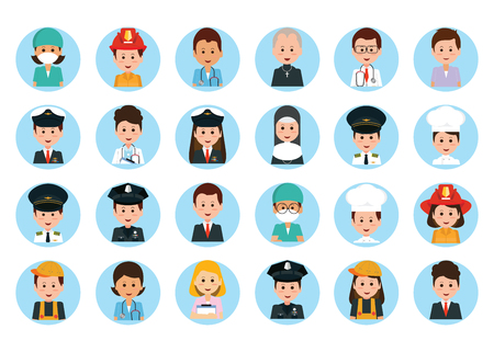 Set of vector man and woman portraits, People professions and occupations icon set in flat design, cartoon character vector illustration.