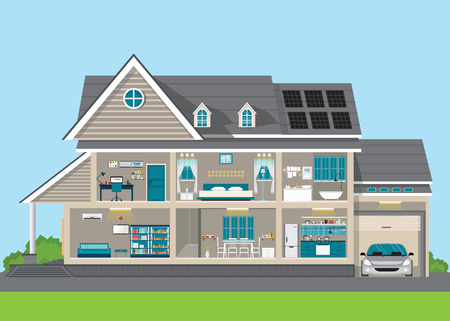 Illustration for Modern home design exterior and interior room with furniture. Flat style vector illustration. - Royalty Free Image
