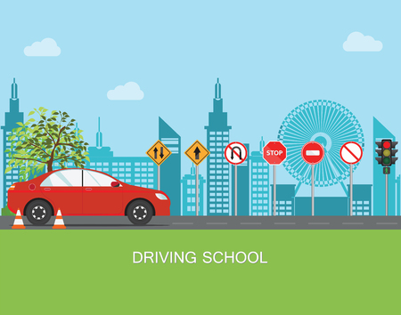 Illustration pour Driving school with car and traffic sign,The rules of the road, Auto Education, Practice vector illustration. - image libre de droit