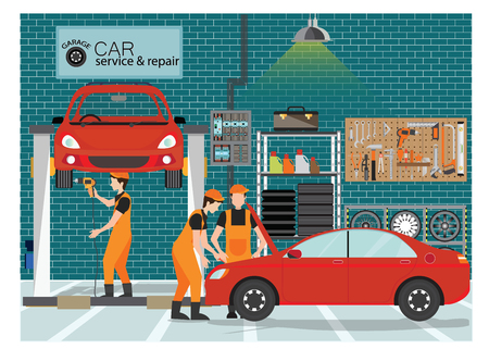 Ilustración de Car service and repair center or garage with worker, exterior building with the various departments, vector illustration.. - Imagen libre de derechos