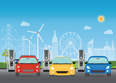 Illustration pour Electric cars charging at the charger station, the solar panels and wind turbines on City building skyline background,Eco green city theme conceptual vector illustration. - image libre de droit