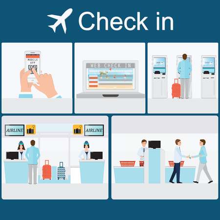 Ilustración de Businessman  check-in at the airport with counter service , self service check in, web check in, mobile app , business travel conceptual vector illustration. - Imagen libre de derechos