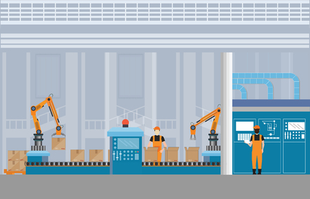 Ilustración de Manufacturing Warehouse Conveyor with workers, robots and assembly line Industrial, Robot working with conveyor belt inside factory, Flat Vector Illustration. - Imagen libre de derechos