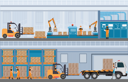 Illustration pour Manufacturing Warehouse Conveyor, Modern Assembly Production Line Industrial,warehouse, freight transportation and professional workers, smart factory in Flat Vector illustration. - image libre de droit