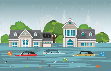 Illustration pour Heavy rain drops and city flood in modern village with cars and garbage floating in the water,vector illustration. - image libre de droit