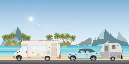 Vektor für Caravan car driving car on road on the beach in the holiday, Family vacation travel, holiday trip in motorhome, Caravan car Vacation in flat design vector illustration. - Lizenzfreies Bild