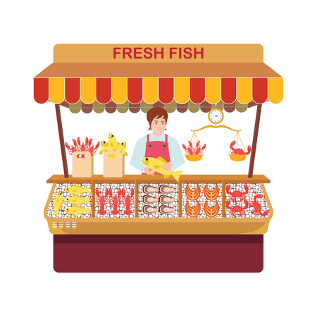 Illustration for Fish market with sellers and seafood. Sellers of fish and their showcase in a Cartoon characters flat style vector illustration. - Royalty Free Image