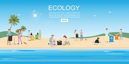 Illustration for People cleaning garbage on beach area. Concept environmental conservation and ocean pollution problems vector illustration. - Royalty Free Image