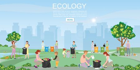 Illustration for Volunteer cleaning garbage in the park on city view background. Concept environmental conservation and city pollution problems vector illustration. - Royalty Free Image