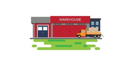 Warehouse building with semi-trailer truck isolated on white.Industrial factory commercial storage.Vehicle cargo delivery logistics, vector illustration.