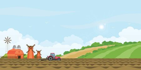 Illustration pour Farmer driving a tractor in farmed land and farmhouse with wind mill on rural farm landscape hill background. agriculture farmhouse vector illustration. - image libre de droit