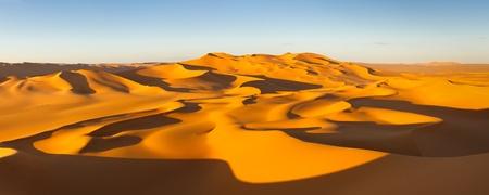Desert Panorama - Endless sand dunes at sunset - Murzuq Desert Sahara Libya