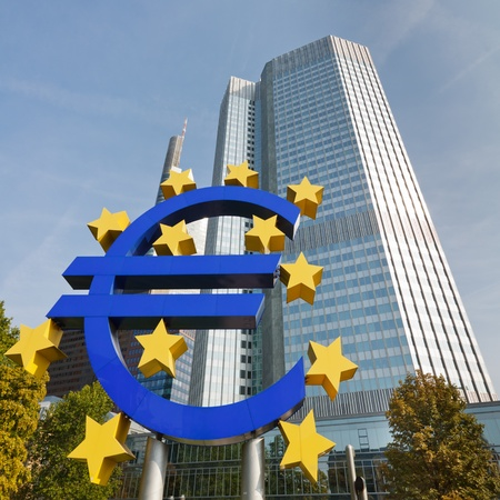 Euro Symbol at the European Central Bank (ECB) in Frankfurt, Germany.