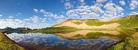 Stunning mountain lake panorama in the Rocky Mountains, Colorado.
