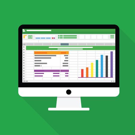 Illustration pour Spreadsheet Computer flat icon. Financial accounting report concept vector illustration - image libre de droit