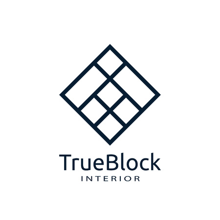 Ilustración de tile wall logo icon for carpet, floor, ceramic industry. hexagon square abstract symbol. minimal sign concept design template vector illustration - Imagen libre de derechos