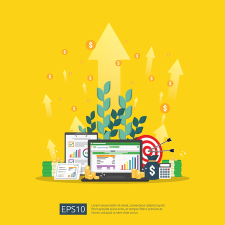 Illustration pour big data analysis on screen. SEO analytic or spreadsheet business audit with graphs and charts. Return on investment ROI concept. business to success. dollar stack pile coins and money bag. - image libre de droit