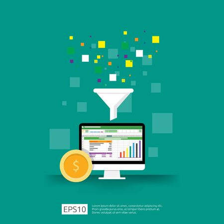 Illustration pour information data collection of filter concept with funnel, money, and graph object element. digital marketing analysis for business strategy concept. Flat Design Vector Illustration - image libre de droit