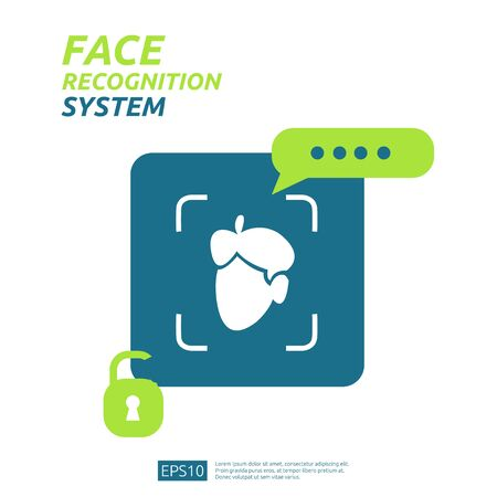 Illustration pour Face recognition system scanning on smartphone. facial biometric data identification security. web landing page template, banner, presentation, social, poster, ad, promotion or print media. - image libre de droit