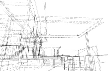 Architectural drawing, housing project by wireframe style, generated by computer