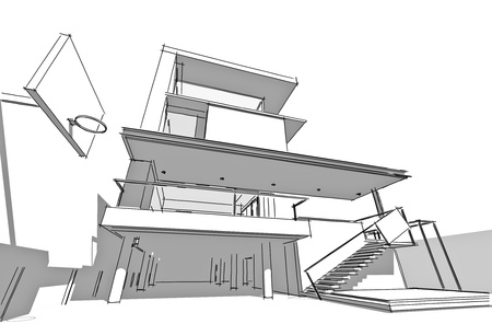 Architectural drawing, housing project by hand-sketch style, generated by computer