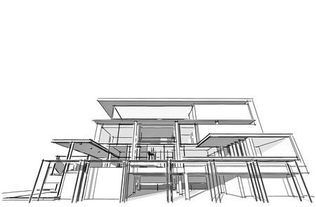 Foto de Architectural drawing, housing project by hand-sketch style, generated by computer - Imagen libre de derechos