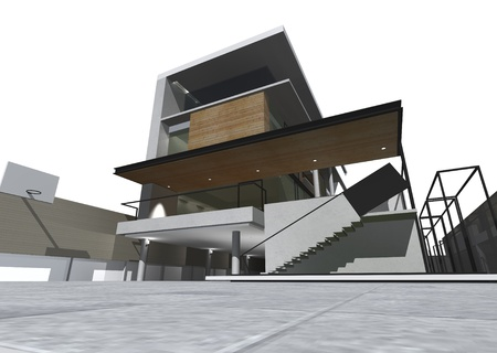 Architectural drawing, housing project by rendering style, generated by computer