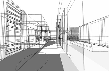 Architectural drawing, Interior project by hand-sketch style, generated by computer