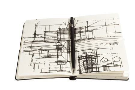 architectural sketchbook with black pen
