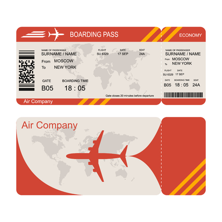 Illustration for Plane ticket template. Air economy flight. Red design. Boarding Pass to take off the aircraft. Vector illustration isolated on white background - Royalty Free Image