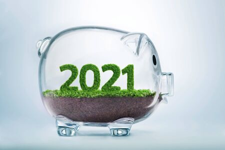 Photo pour 2021 is a good year for business. Grass growing in the shape of year 2021, inside a transparent piggy bank. - image libre de droit