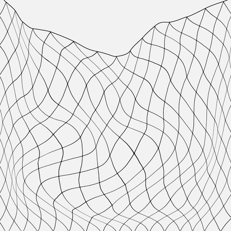 Ilustración de Net fishing in the ocean. flat vector illustration isolated. - Imagen libre de derechos